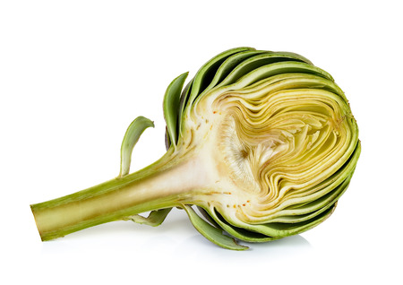 Half artichoke isolated on the white background. 스톡 콘텐츠