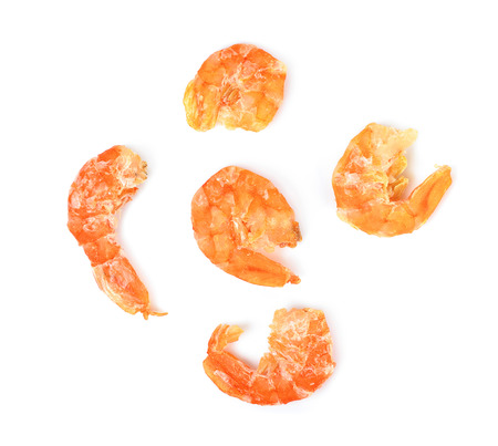 Dried shrimp isolated on the white background.