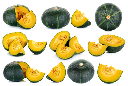 Set Green pumpkin isolated on the white background . Stock Photo