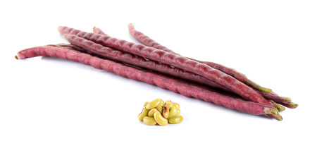 long bean: red Long bean with seed isolated on white background.
