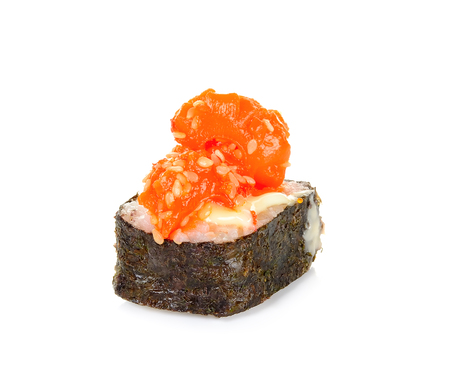Sushi with squid isolated on the white background. 스톡 콘텐츠