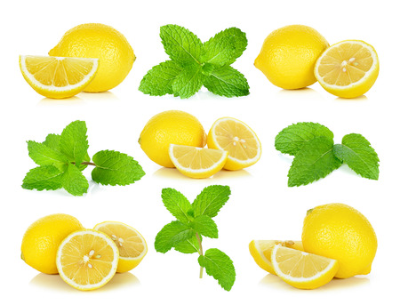 Lemon and  mint isolated on the white background. Banco de Imagens