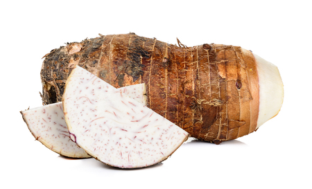 taro with sliced isolated on the white background .