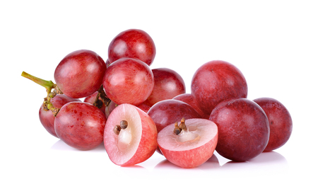 grapes isolated with sliced on over white background.
