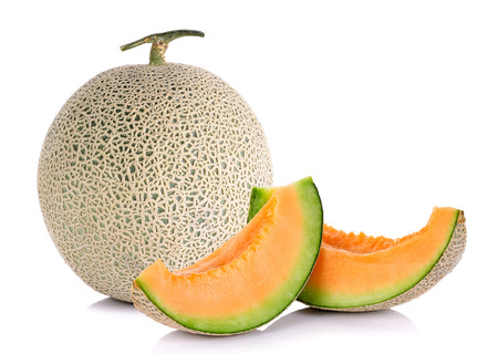 cantaloupe melon with sliced isolated on white background. Stock Photo