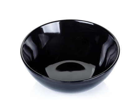 Black bowl isolated on a white background. Banco de Imagens
