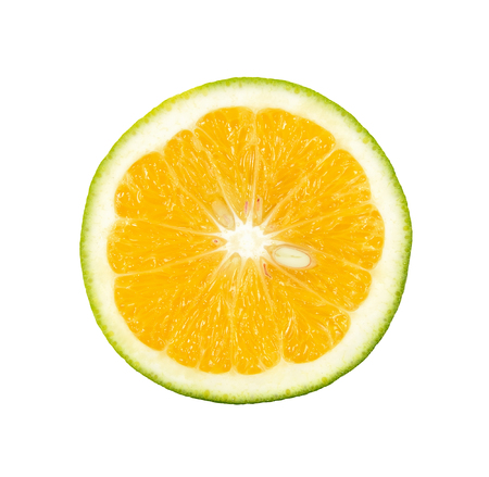 citrus     sinensis: Half Citrus sinensis isolated on the white background. Stock Photo