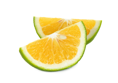 citrus     sinensis: Slice Citrus sinensis isolated on the white background.