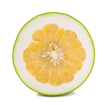 Half of pomelo citrus isolated on white background.