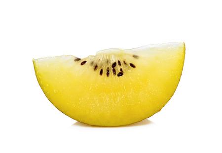 nourish: Sliced Yellow gold kiwi fruit isolated on the white background. Stock Photo