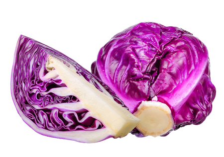 Red cabbage isolated on the white background.