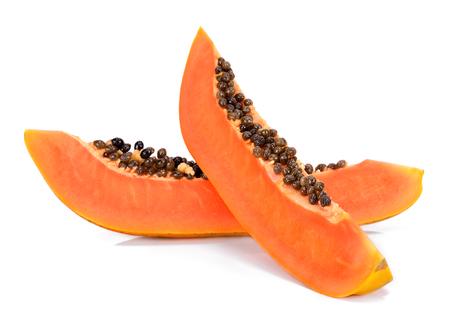 Slice of papaya isolated on white background.