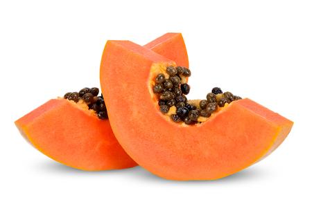 Slice papaya isolated on white clipping path. 스톡 콘텐츠
