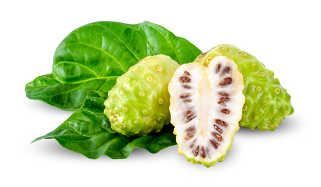 noni fruit isolated on white clipping path.