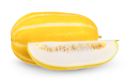 Korean melon isolated on white clipping path.