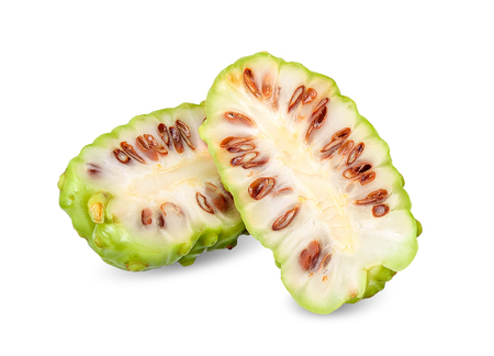Half Noni fruit isolated on white clipping path