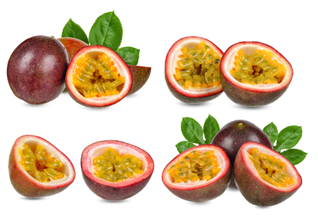 Collection Passion fruit isolated on white with clipping path