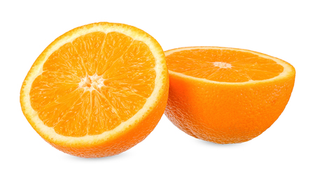 Slice orange isolated on white with clipping path Stock Photo