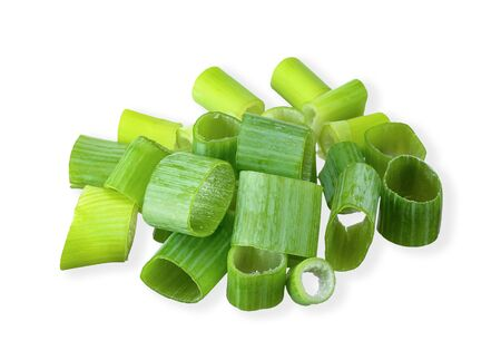 slice green onion isolated on white clipping path Stockfoto