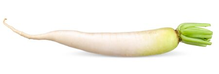 Daikon radish isolated on white with clipping path
