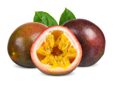Passion fruit and half with leaf isolated clipping path Stockfoto