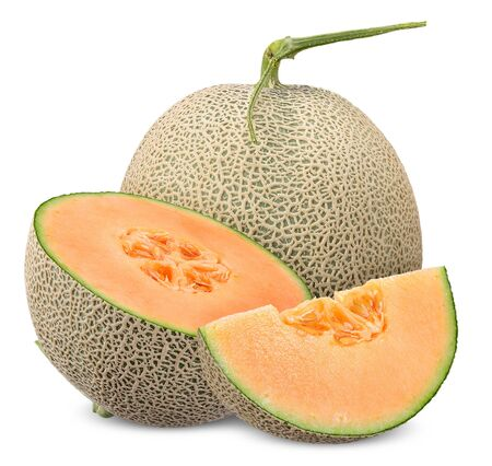 Melone und halbe Scheibe mit Beschneidungspfad isoliert