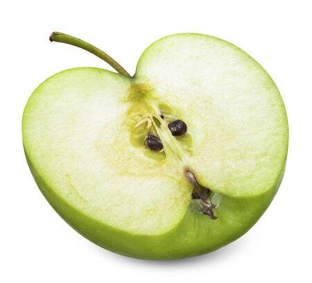 Demi pomme verte isolée sur blanc, pomme Banque d'images