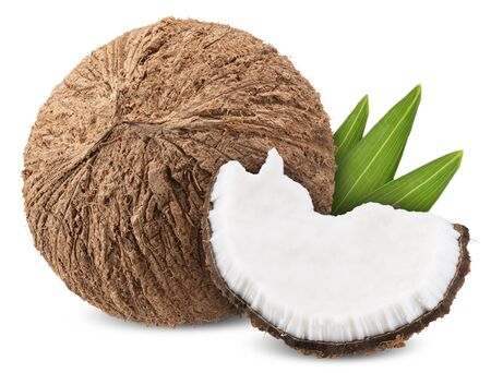 coconut isolated on white, coconut clipping path all focus 스톡 콘텐츠