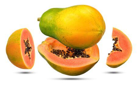 Ripe papaya and half slice isolated on white, papaya clipping path.