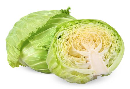 Cabbage and half isolated on white, cabbage clipping path