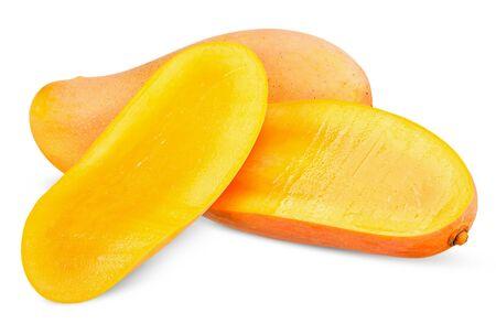 Ripe mango and half isolated on white, mango clipping path