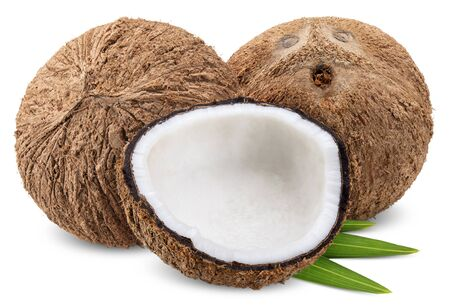 coconut and half with leaf  isolated on white, coconut clipping path