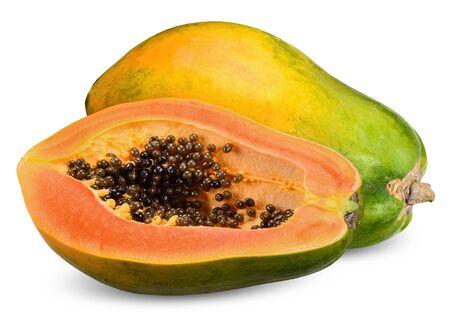 ripe papaya and half isolated on white, papaya clipping path 스톡 콘텐츠