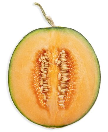 half melon isolated on white, melon clipping path top view 스톡 콘텐츠
