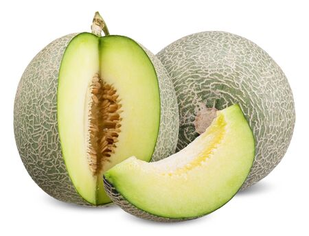 melon and slice isolated on white, melon clipping path all focus