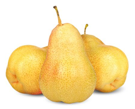 yellow pear isolated on white, pear clipping path 스톡 콘텐츠
