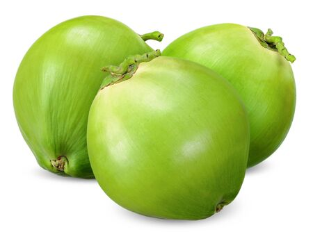 Green coconut isolated on white,coconut clipping path.