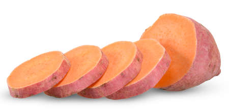 Slice sweet potato isolated on white