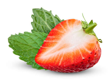 half strawberry with mint leaf isolated white