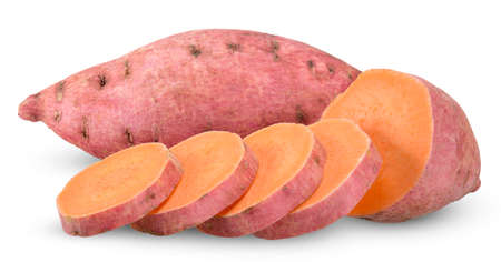 sweet potato and slice isolated on white 스톡 콘텐츠