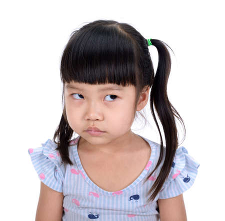 Asian little girl smile with beutiful teeth isolated on white background