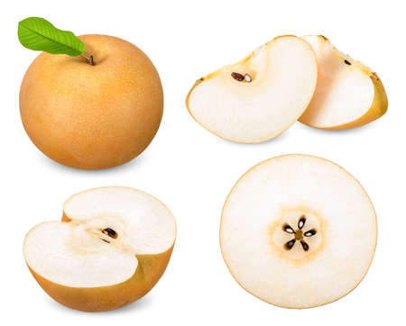 Set snow pear or Fengshui pear collection isolated on white background 스톡 콘텐츠
