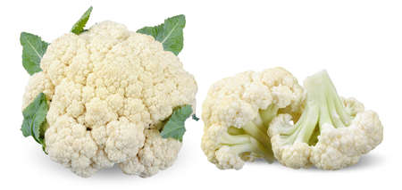 cauliflower vegetable and part isolated on white background 스톡 콘텐츠