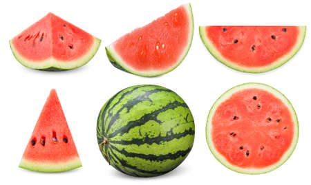collection watermelon isolated on white