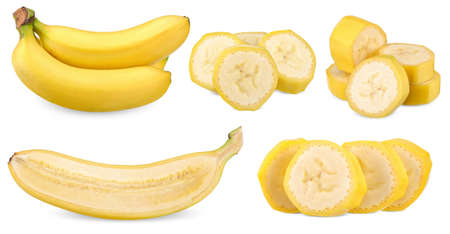 set of  banana isolated on white background
