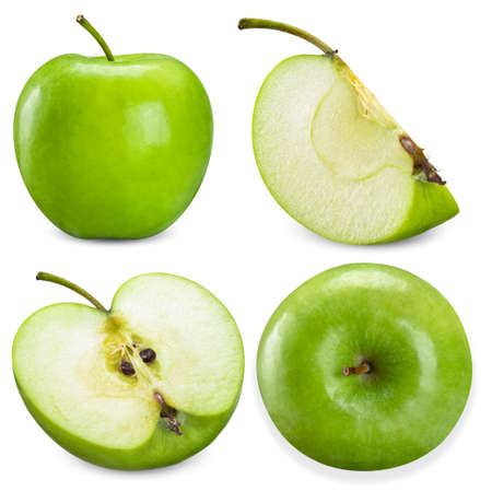 green apple and slice half isolated on white background 스톡 콘텐츠