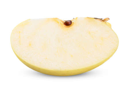 slice yellow apple isolated on white