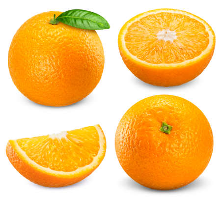 Set orange fruit isolated on white background
