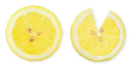 Half slice Lemon isolated on white background 스톡 콘텐츠