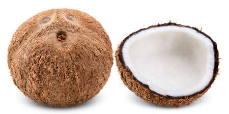 coconut and half isolated on white background